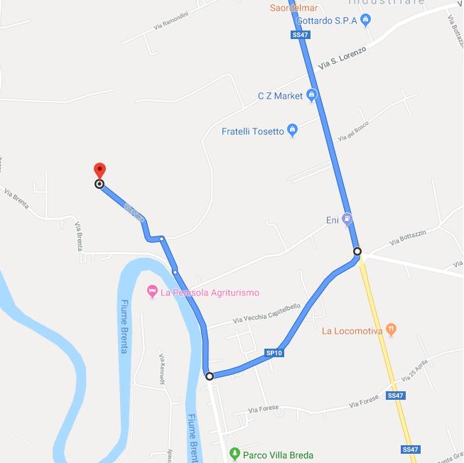 """Superato San Giorgio in Bosco e il paese Paviola nella strada principale SS47 che conduce alla tangenziale ci si ritrova al semaforo principale di Campo San Martino. Alla propria DX si può notare un distributore """"Eni"""". Svolta a destra. Svolta a destra e prendi Via Capitebello/SP10 - 900 m Svolta a destra e prendi Via Brenta - 500 m Svolta leggermente a destra e prendi Via Moia - 160 m Svolta a sinistra e prendi Via Piave - 400 m SEI ARRIVATO Sopra puoi trovare i nostri contatti"""
